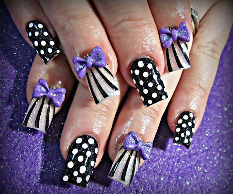 purple 3D bows dots stripes girly nails