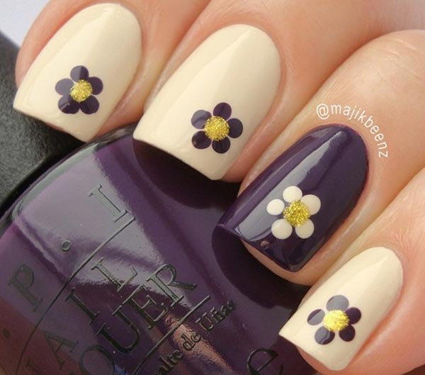purple beige dotted flowers nails