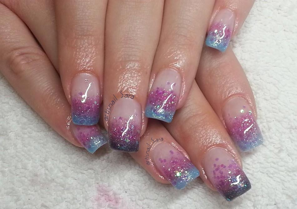 purple blue glitter gradient nails