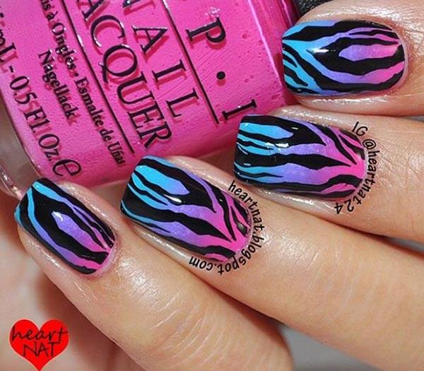 pink purple blue gradient zebra nails