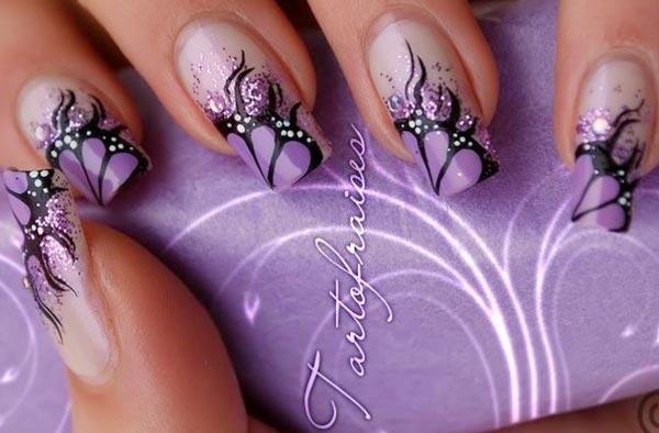 purple butterfly wings glitter gradient nails