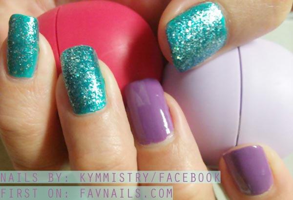 purple emerald glitter nails