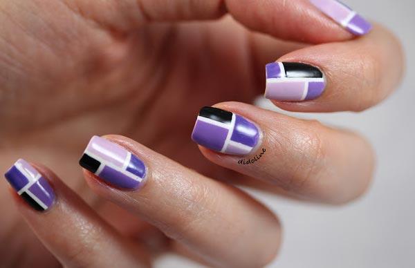 purple geometry nails