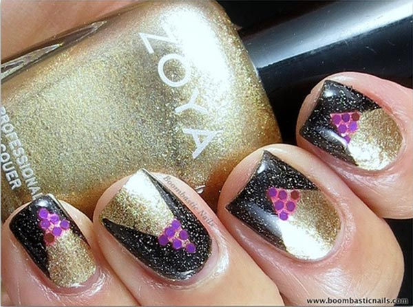 purple glitter black gold shimmer nails