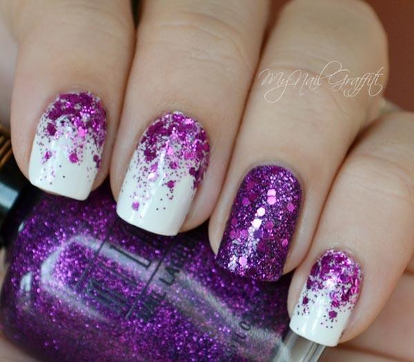purple glitter gradient on white nails