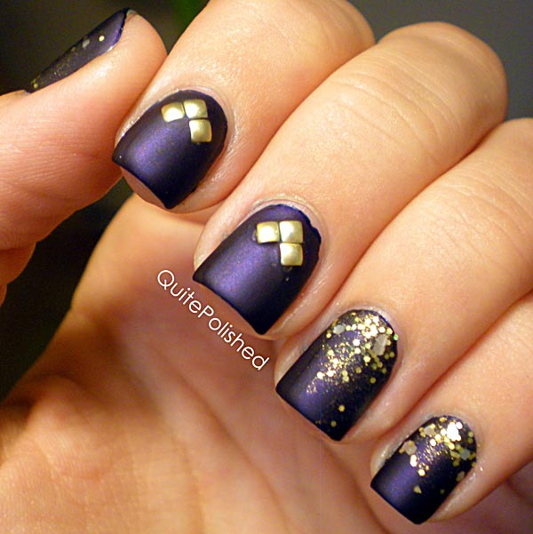 purple gold glitter nails - Favnails
