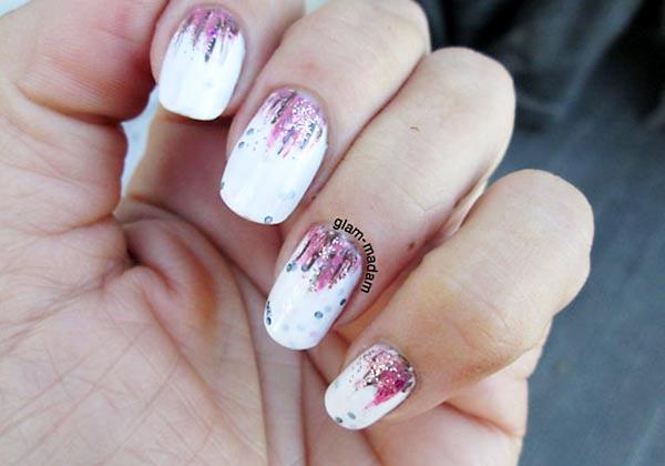 purple gold waterfall white jelly nails