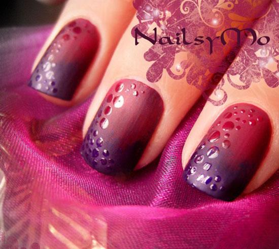 purple gradient matte nails