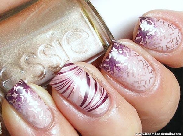 purple gradient stamped nails