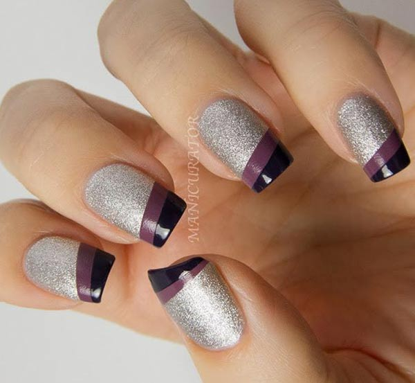 purple gradient tips silver textured nails