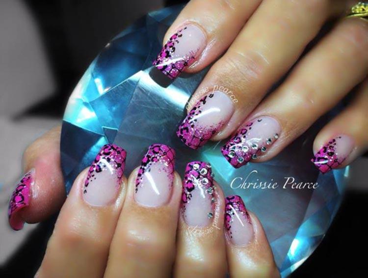 purple leopard tips rhinestones french nails
