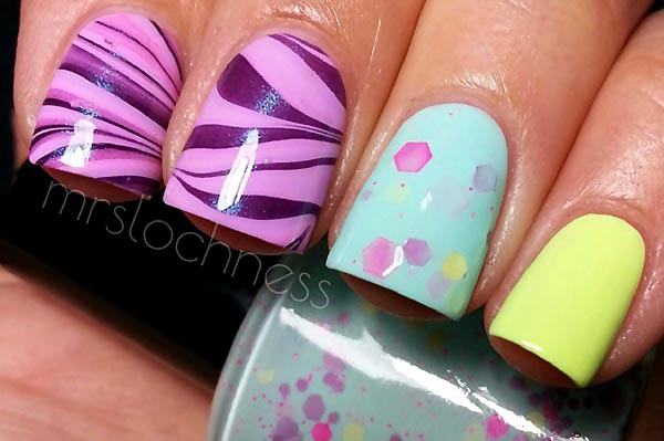 purple lilac marbled yellow teal accent nails