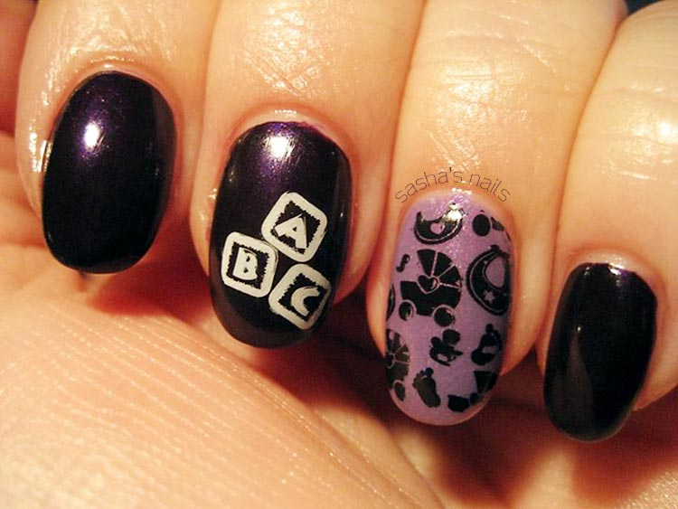 purple lilac stamped baby shower nails