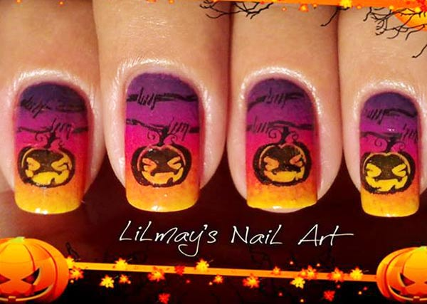 purple orange gradient jack o lantern halloween nails