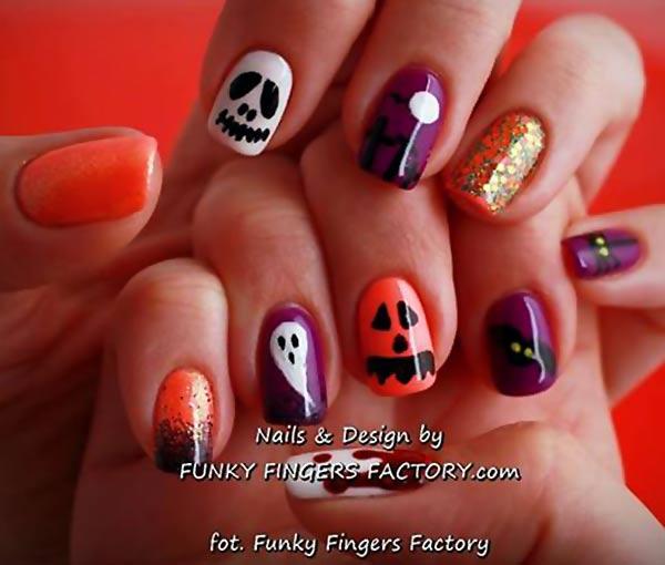 purple orange skellington glitter halloween nails