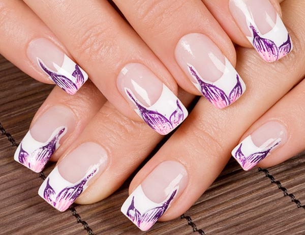 purple petals on classic french nails