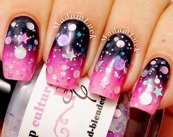 purple pink gradient stars glitter nails