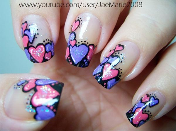 purple pink hearts tips french nails