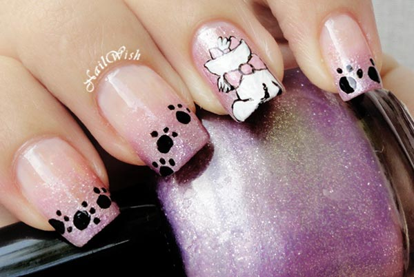 purple shimmer gradient disney aristocats nails