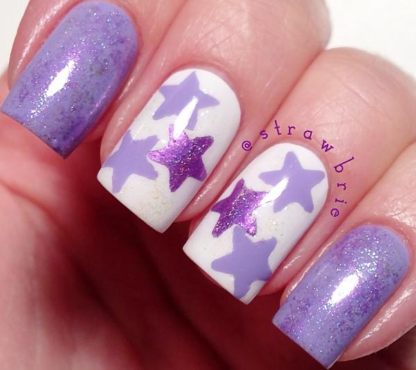 purple shimmer stars accent nails