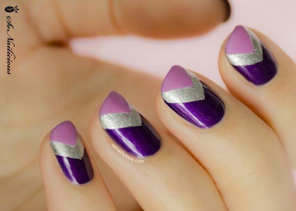 purple silver chevron nails