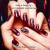purple silver rhinestones accent nails