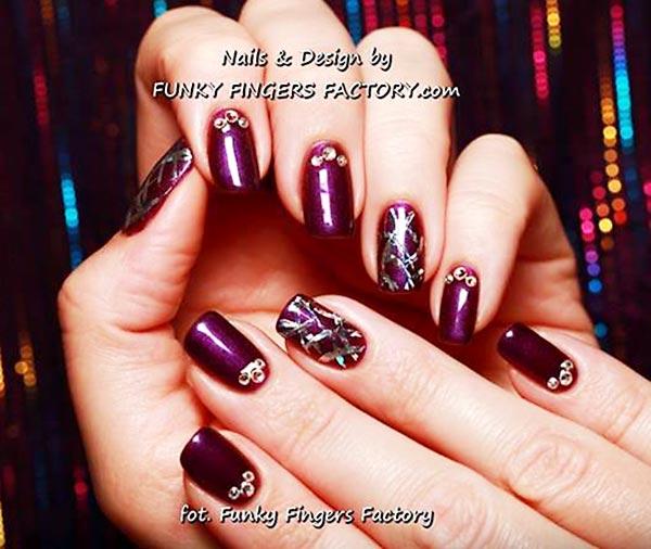 purple silver rhinestones accent nails