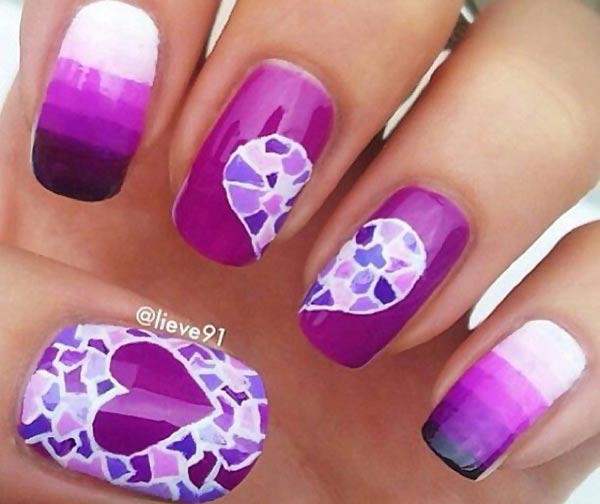 purple striped gradient heart mosaic nails