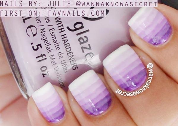 purple striped gradient nails