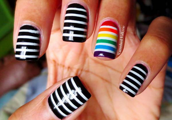 rainbow accent black white striped nails
