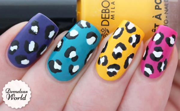 rainbow colored leopard nails