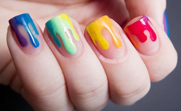 rainbow dipped spring summer nails