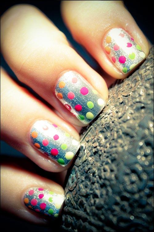 rainbow dots silver nails
