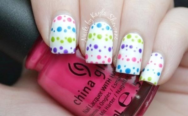 rainbow dots white spring nails