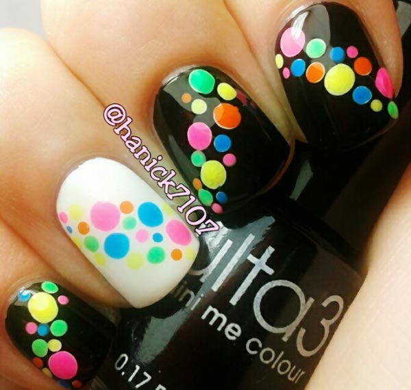 rainbow dotted black and white nails