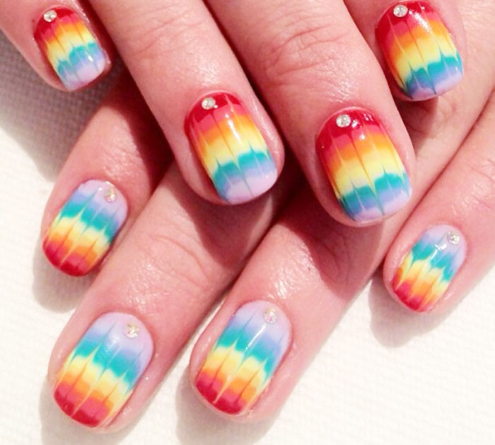 rainbow dry marbled spring summer festival nails