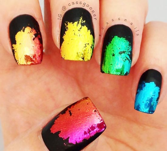rainbow foil on black matte nails