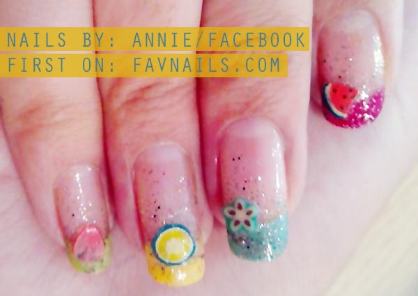 rainbow french fruits appliques summer nails