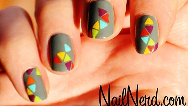 rainbow geometry gray nails