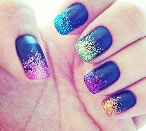 rainbow glitter dip matte nails