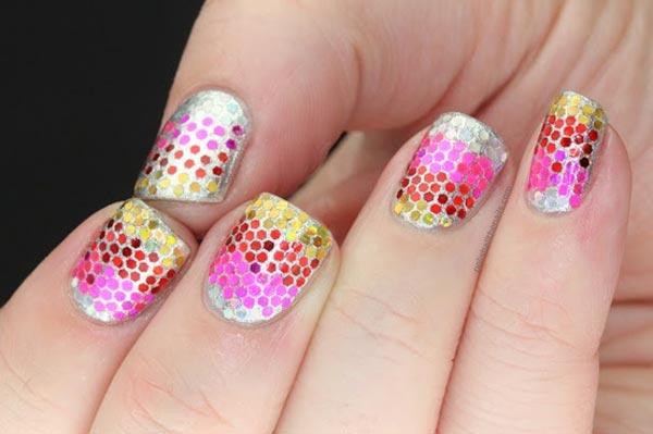 rainbow glitter on silver nails