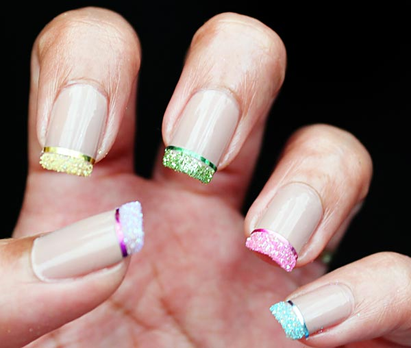 rainbow glitter tip french nails