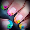 rainbow glitter tips flowers spring french nails