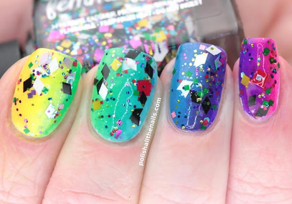 rainbow gradient confetti glitter summer party nails