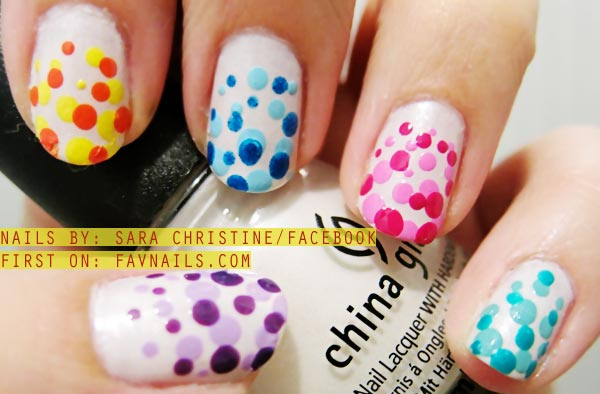 rainbow gradient dotted summer nails