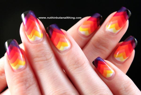 rainbow gradient fishtail amazing nails