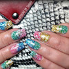 rainbow gradient glitter stamped spring summer nails