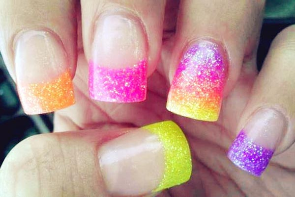 rainbow gradient shimmer french nails