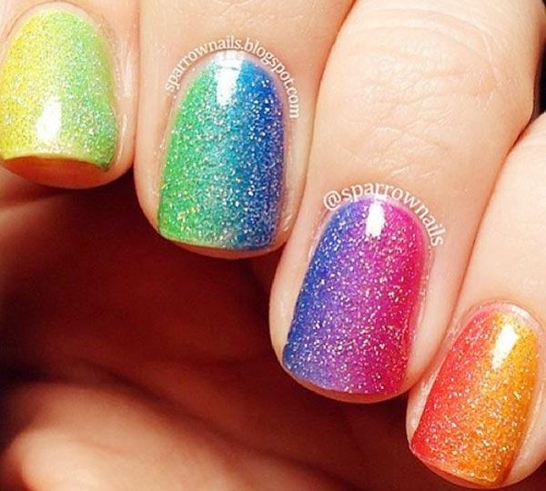 rainbow gradient shimmer nails