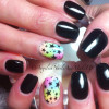 rainbow gradient starry accent black nails
